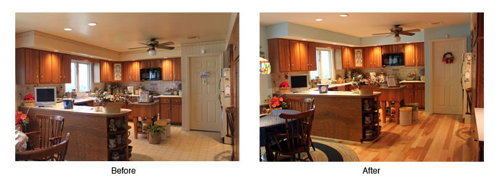 The Kitchen Too Had Been Wallpapered Client Was Putting In A New Wood Floor Between Cabinets And Furniture