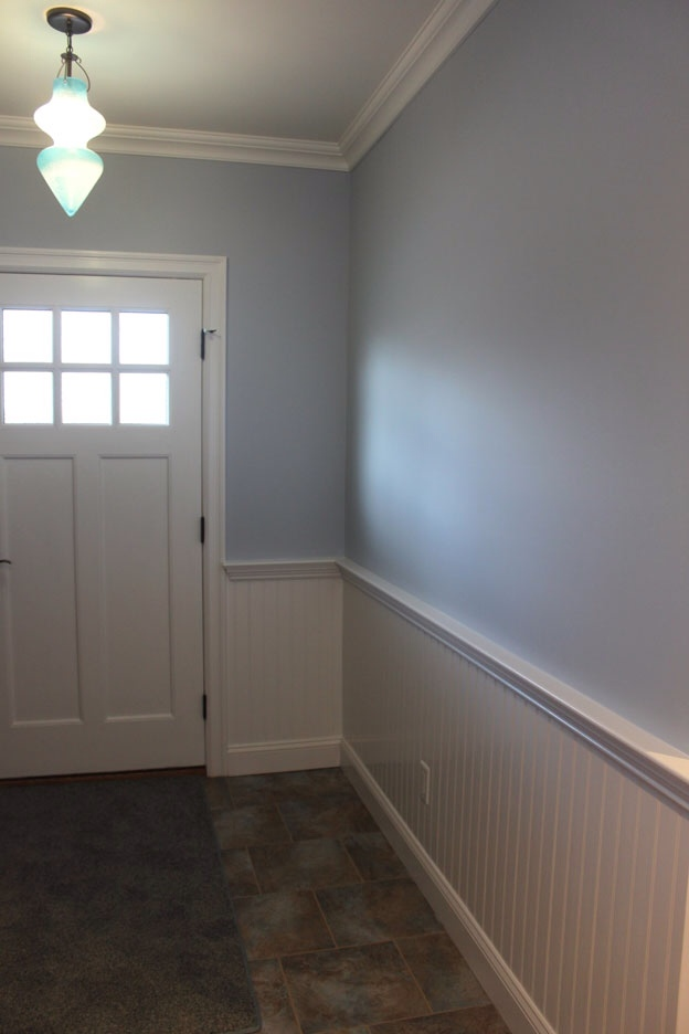 We chose benjamin moore 1619 silver mist which is a grey with just a